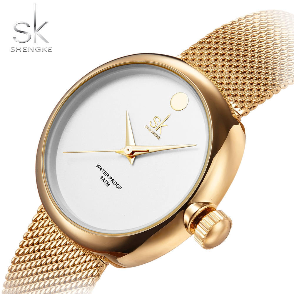 SK Top Luxury Brand Fashion Womens Watches Clock Women Steel Mesh Strap Rose Gold Bracelet Quartz Watch Reloj Mujer 2017 New Hot geneva brand fashion rose gold quartz watch luxury rhinestone watch women watches full steel watch hour montre homme reloj mujer