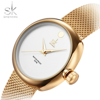 SK Top Luxury Brand Fashion Womens Watches Clock Women Steel Mesh Strap Rose Gold Bracelet Quartz