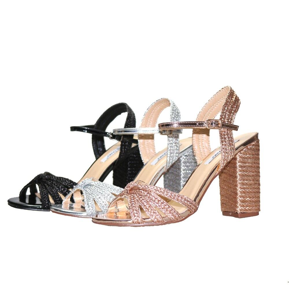 femme Rond Talons Dame silver Femmes Chaussures Sandales Clair Black fille Tissage gold Étroite Grâce Nouveau Bout Ouvert D'été 2018 Bandes Timetang B7naPRw
