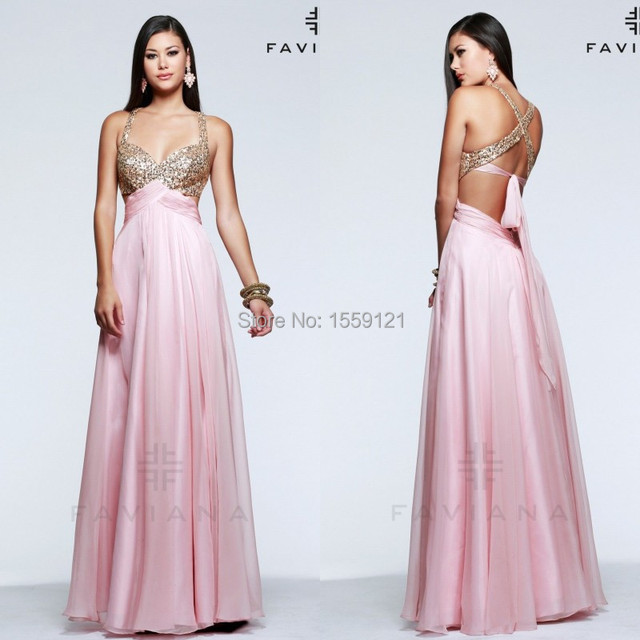 A Line Pink Gold Chiffon Long Prom Dress Sexy Backless 2017 New A