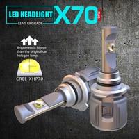 1 Set 9005 HB3 60W 7800LM X70 LED Headlight Kit Front Lens Lamps Bulbs XHP 70 4SMD Chips Turbo Fan White 6000K Fog 120W 15600lm
