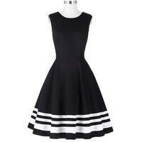 Belle Poque Women Rockabilly Retro Dresses 50s 60s Vintage Sleeveless Empire Black With White Stripe Party