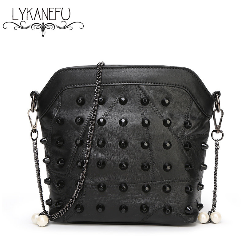 100% Real Soft Sheep Skin Leather Bag Women Crossbody Bags with Chain Rivet Bag Ladies Leather Black Dollar Price