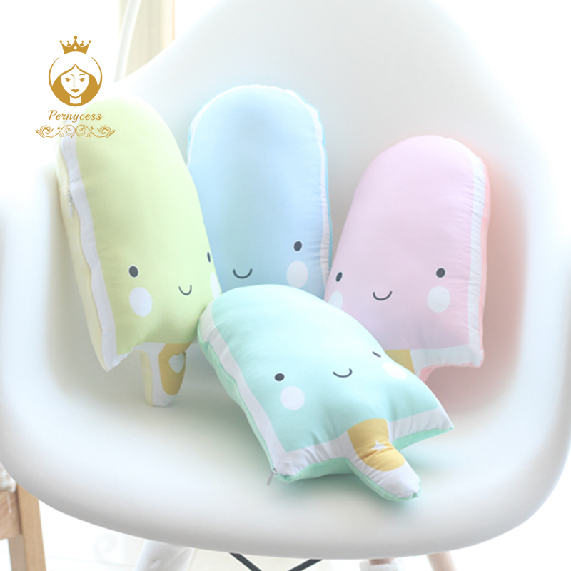 1PCS Creative Cute Ice Cream Pillow, INS Pudding Sofa Cushions, Baby To Appease Dolls, Soft Plush Stuffed Toys