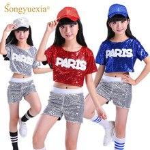 Traje de baile para niños SONGYUEXIA traje de fuga de lentejuelas  animadoras Hip Hop modernos trajes de baile para niñas 6dc32cb7daa