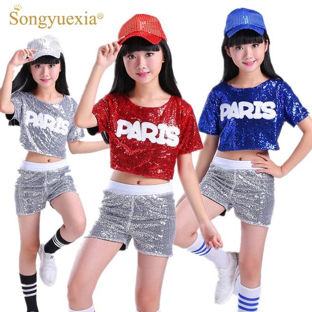 90bec9f61 SONGYUEXIA Children Dance Costume Suit Leakage Sequins Cheerleading ...