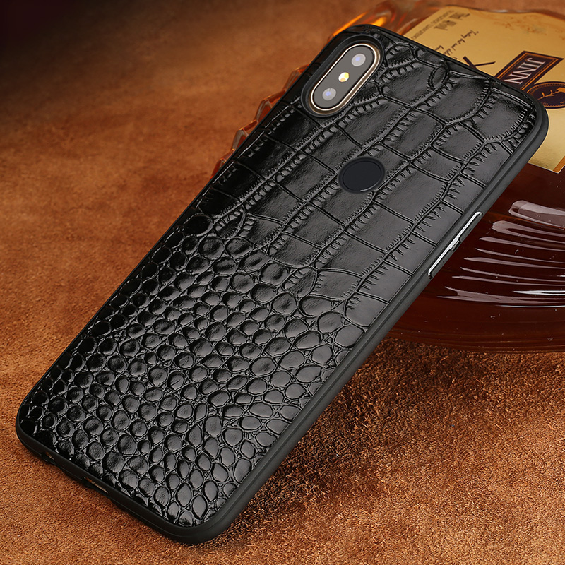 Cowhide Phone Case For Xiaomi Mi 6 8 SE 8 Explorer 6X A2 Mix 2S Max 3 Soft TPU Edge Crocodile Texture Genuine Leather fundas