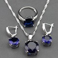 Top Quality Blue Created Sapphire 925 Silver Jewelry Sets Earrings/Pendant/Necklace/Ring For Women Free Gift TZ16