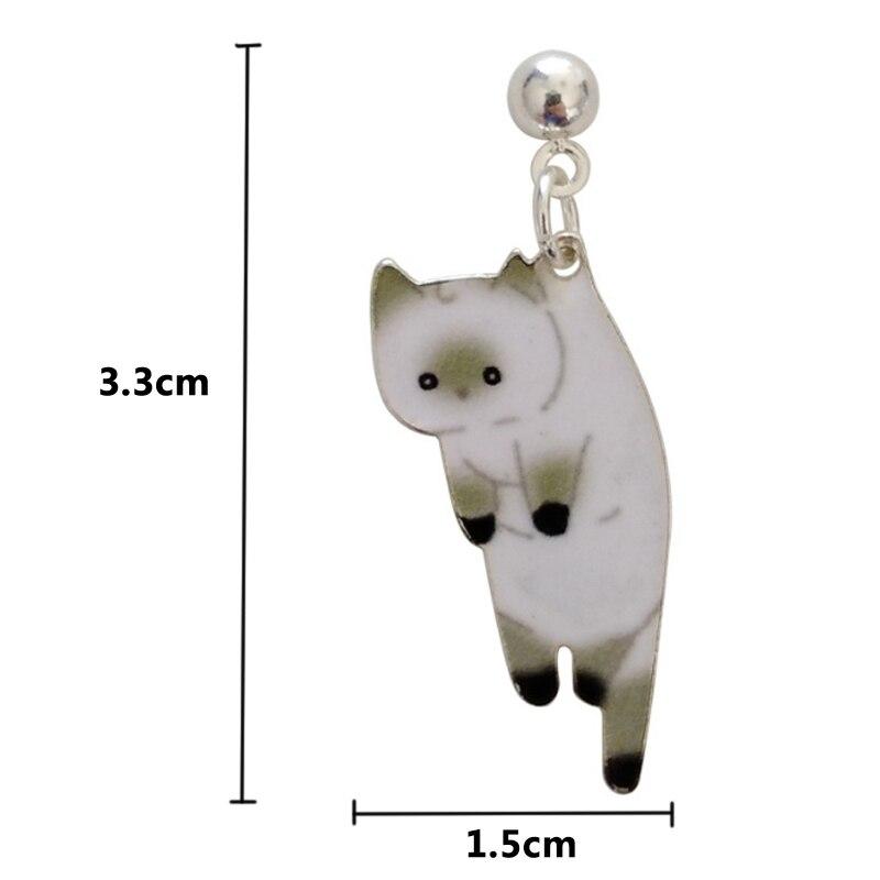 Noir EJY Mignon Animal Design Chat Boucles doreilles Personnalit/é Strass Chat Oeil Oreille Stud
