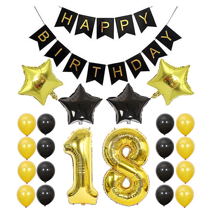 40inch <font><b>18th</b></font> 30 Years Old Happy <font><b>Birthday</b></font> Banner Star Balloons for <font><b>Birthday</b></font> Party <font><b>Decorations</b></font> Adult Inflatable Confetti Balloons image