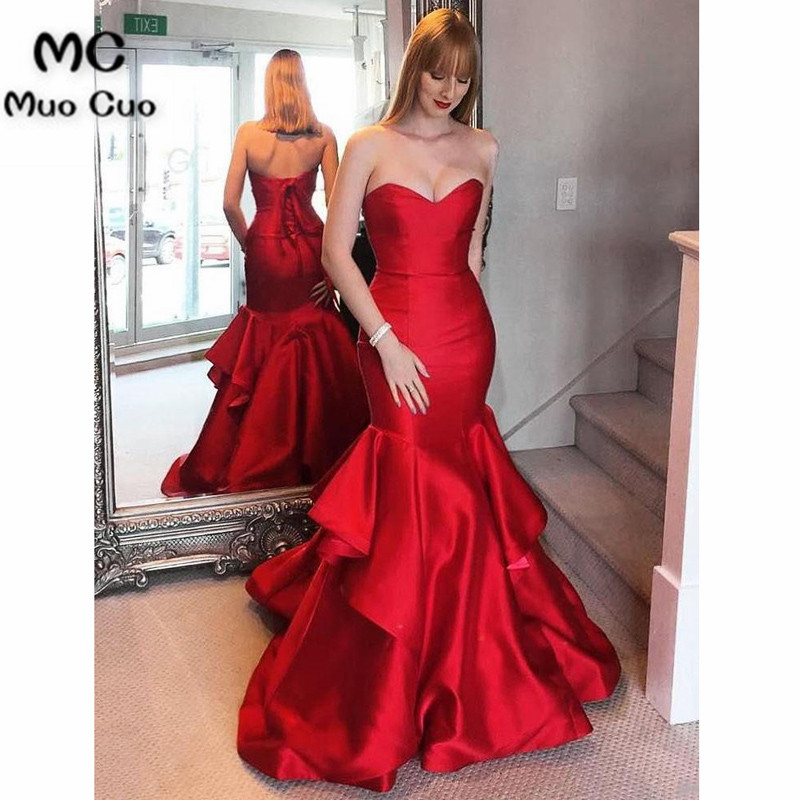 2018 Red Mermaid Evening Dresses Long Sweetheart Ruffles Satin Prom Dress For Teens Formal Evening Dress For Women