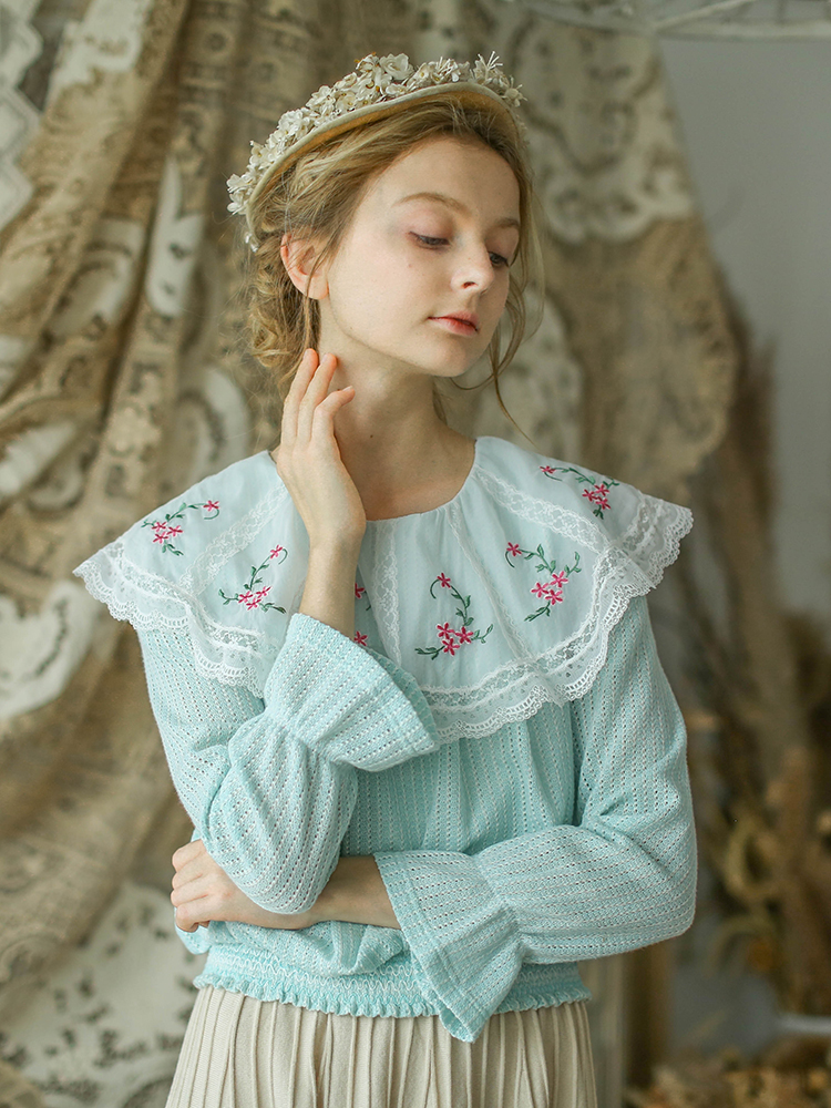 Mujer Diseño Delgada Verde Punto Las Niñas Vintage Mori De Jerséis Suéteres Victoria Original Lynette Bordado Chinoiserie Primavera Otoño qCXBRw