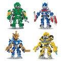 Blocos de construção de diamante amarelo abelha robôs cars modelo mini figuras de ação diy montados brinquedos bricks presente coleção