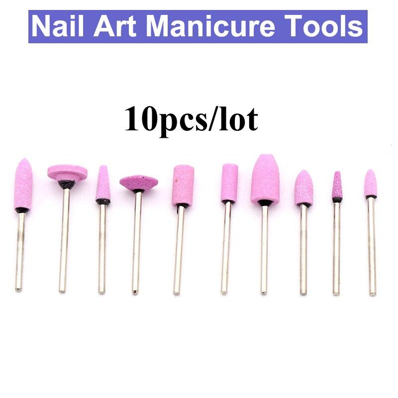 URANN 10pcs 2.35mm Ceramic Nail Drill Bit Quartz Nozzle Cutter Tool Cleaning Cutter Electric Nail Art Manicure Tools Accessorie