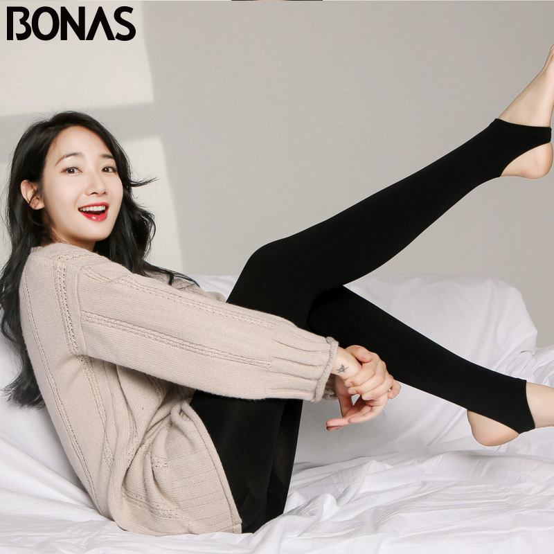 BONAS 2Pcs Women Big Size Warm Leggings Fitness Soft Black Color Leggins Female Velvet Leggings Elasticity Warm Winter Legging