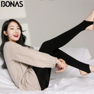 Image 1 - BONAS 2Pcs Women Big Size Warm Leggings Fitness Soft Black Color Leggins Female Velvet Leggings Elasticity Warm Winter Legging