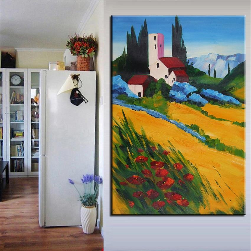 9a2b5fc18 بدون إطار مطبوعة الأصفر جدار زهرة اللوحة المشهد النفط الطلاء قماش يطبع جدار  اللوحة ل غرفة المعيشة ديكورات