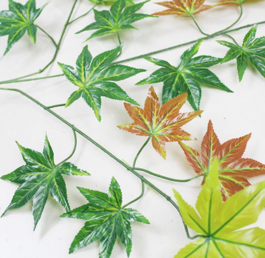 12pcs Artificial multicolour Maple Leaf Branch For Plant Wall Background Wedding Home Hotal Office Bar Decorative