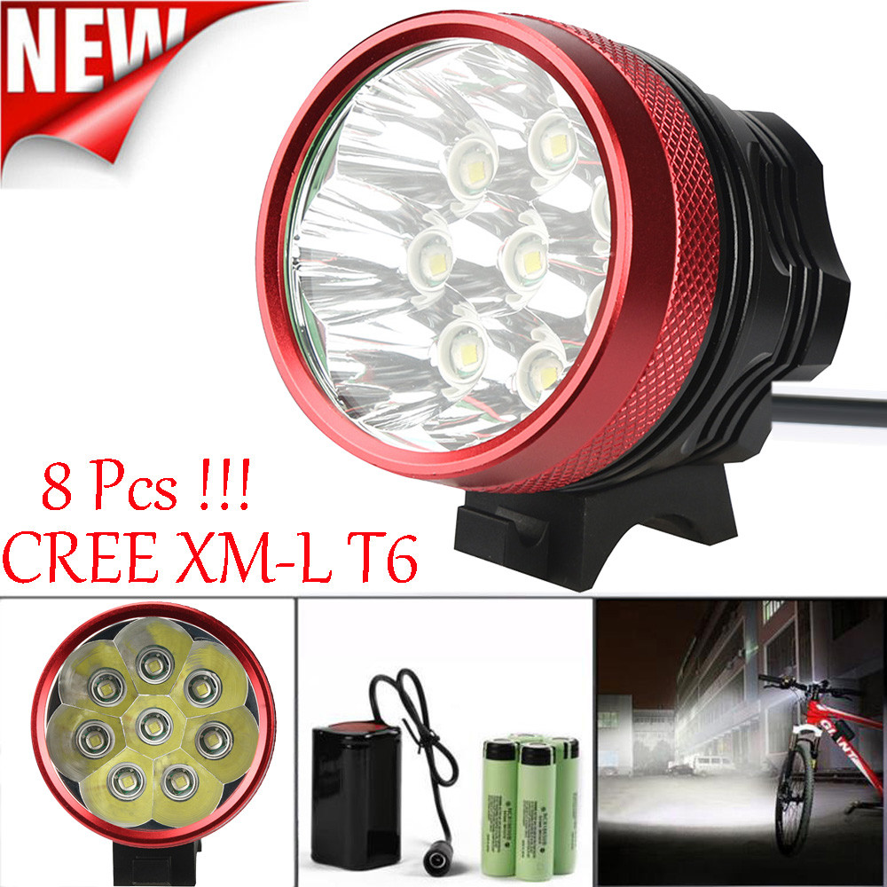 18000LM 8 x XM-L T6 LED 6 x 18650 Bicycle Cycling Light Waterproof Lamp For Bicycle Accessaries Light Bike Lamp DZ&5018000LM 8 x XM-L T6 LED 6 x 18650 Bicycle Cycling Light Waterproof Lamp For Bicycle Accessaries Light Bike Lamp DZ&50