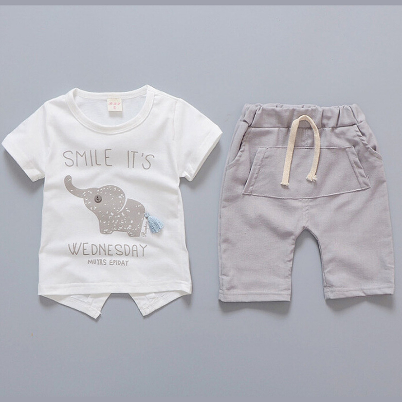 1 2 3 4 Year Boys Clothes Cute Elephant Pattern Kids Suits For Boys White T-shirt Shorts Baby Children Clothing Set