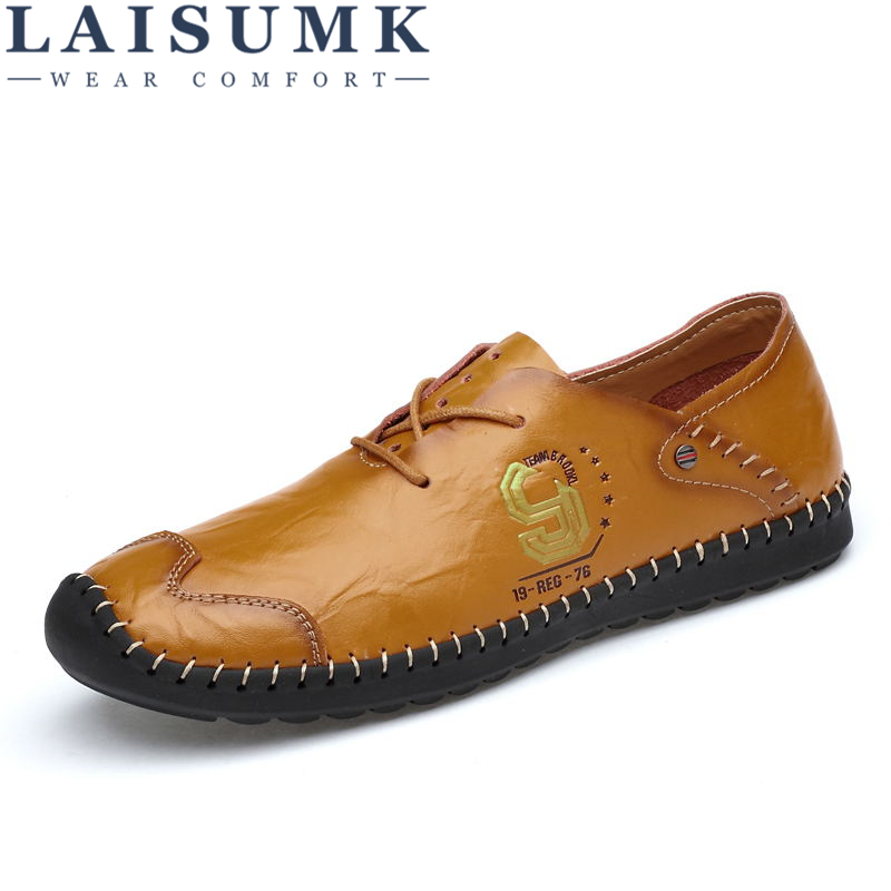 LAISUMK Brand 2018 New Comfortable Casual Shoes Loafers Men Shoes Quality Split Leather Shoes Men Flats Fashion Hot Sale shoes smart cover case for ipad kaku original official leather ultra thin stand cases for apple ipad air 1 2with wake up free shipping