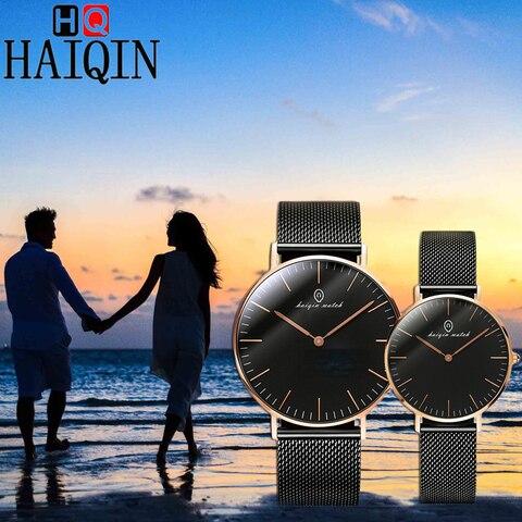 Minimalista dos Homens da Moda Relógios de Luxo da Marca de Quartzo Relógio de Pulso Casal para os Amantes do Relógio à Prova Haiqin Relógios Casal Água d'