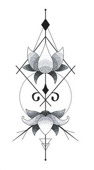 Waterproof Temporary Fake Tattoo Stickers Vintage Lotus Flowers Geometric Design Body Art Make Up Tools line art