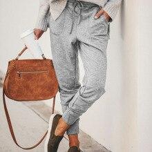 New elastic drawstring sexy pants women casual belt pocket fit trousers female 2