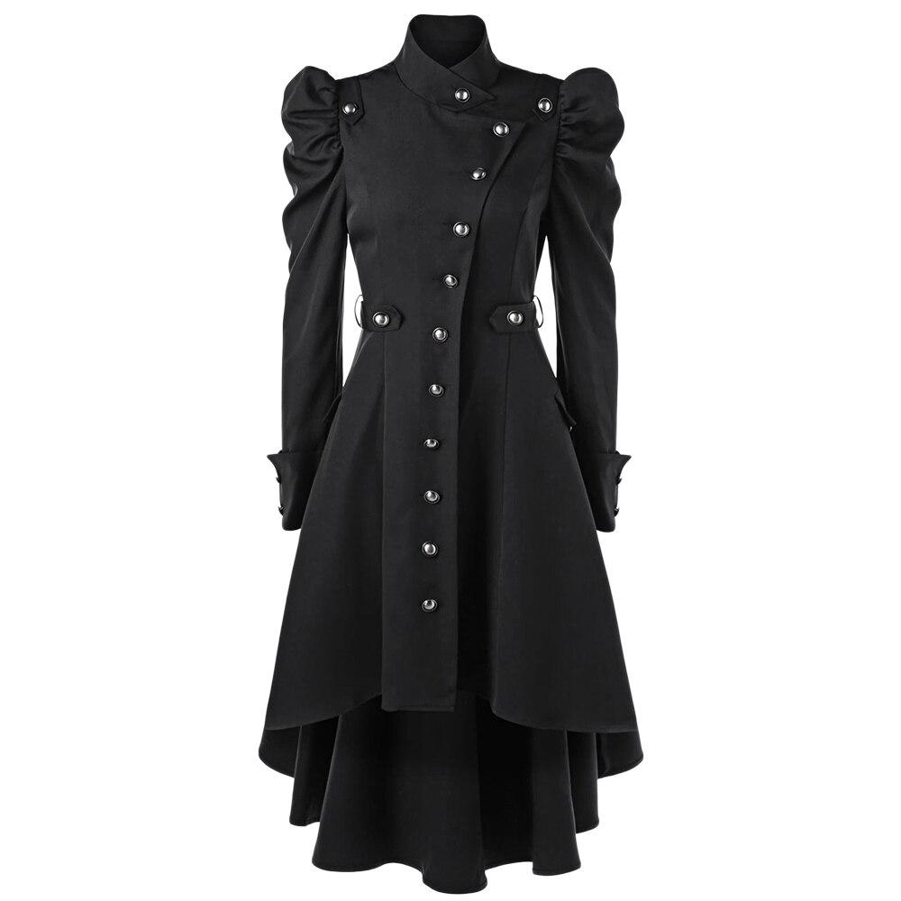 Wipalo Gothic Women Winter Puff Shoulder Button Up Dip Hem   Trench   Coat Fashion Stand-Up Collar High Waist Outerwear Coat XXL