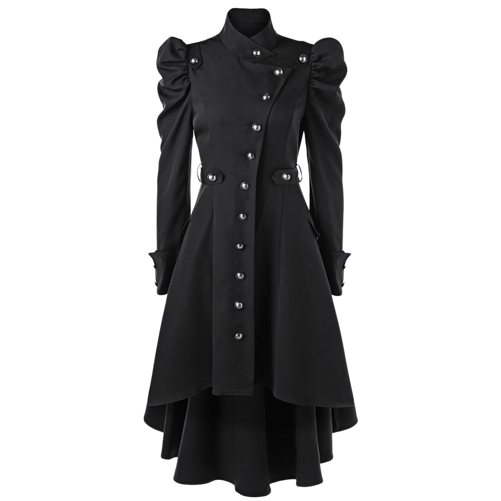 Wipalo Women Winter Puff Shoulder Button Up Dip Hem Trench Coat New Fashion Stand-Up Collar High Waist Outerwear Gothic Coat