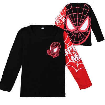 เด็กเสื้อผ้าเด็กชาย Spiderman Pullover สีดำ/สีแดงเสื้อแขนยาวเสื้อยืดเสื้อกันหนาวสำหรับ 2-8Y