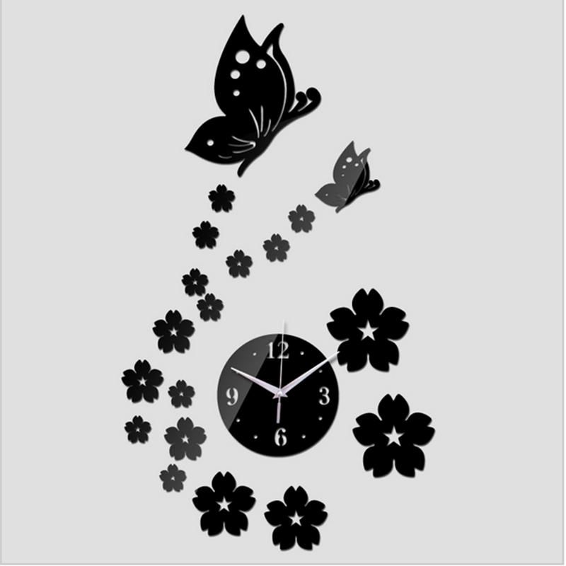 Бесплатная доставка 2017 3D Зеркало настенные часы DIY Кристалл часы Настенные часы украшения дома, reloj де сравнению 2 бабочки и 17 цветы