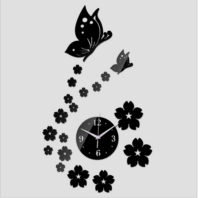 Free Shipping 2017 3D Mirror Wall Clock DIY Crystal Watch Wall Clocks Home Decoration, Reloj De Pared 2 Butterfly and 17 Flowers