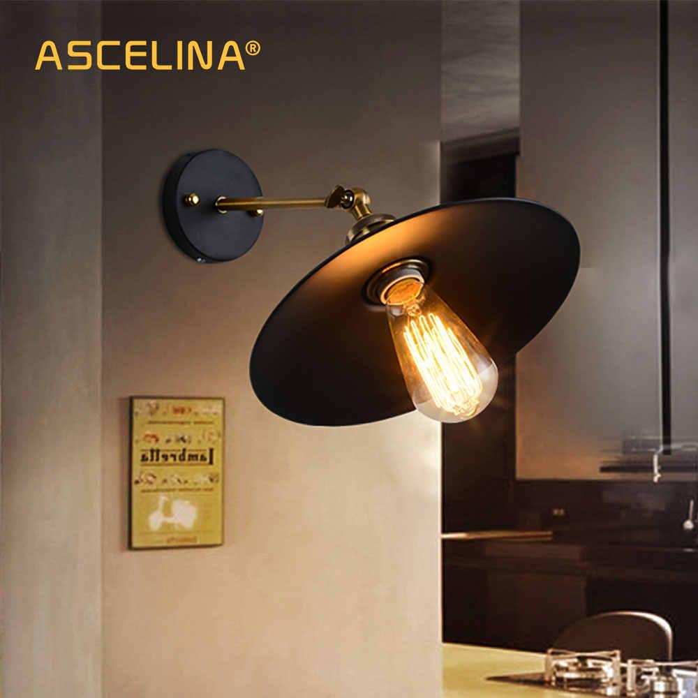 Американский Лофт Промышленные Настенные светильники винтажный прикроватный Настенный светильник металлический 22 см абажур E27 Edison лампы 110 В/220 В