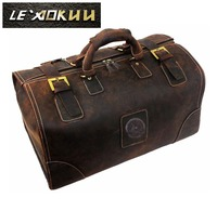 High Quality First Layer Of Cowhide Crazy Horse Leather Genuine Leather Male Big Capacity Handbag Vintage