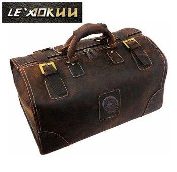 Cavalo louco couro masculino maior capacidade retro design bolsa de viagem duffle saco de bagagem moda mala de viagem tote