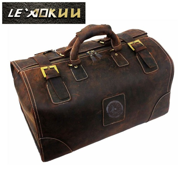 Crazy Horse Leather Male Larger Capacity Retro Design Travel Handbag Duffle Luggage Bag Fashion Travel Suitcase Tote Bag