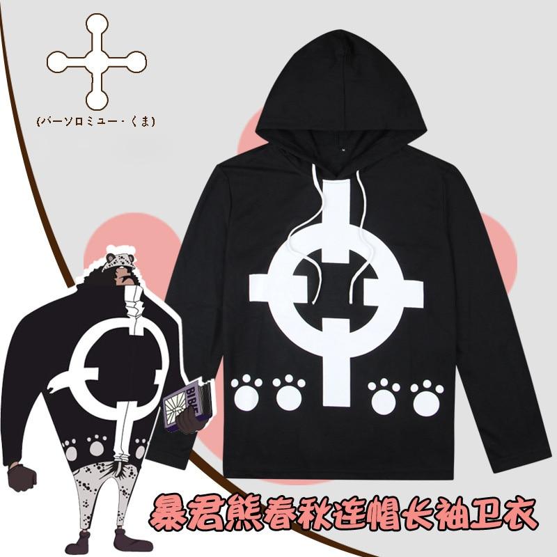 Anime One Piece Bartholemew Kuma Hoodie Cosplay Costume Long Sleeve Hooded Black T-shirt Casual Sweatshirt Daily Pullover