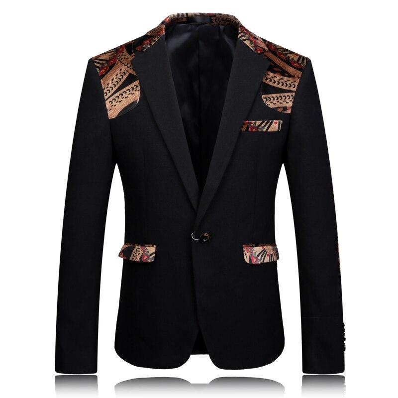 Blazer Men 2017 Printed Blazer Stage Jacket Designer Party Wear Suit 4XL Men Slim Fit Blazer Stylish Black Khaki Suit Jacket