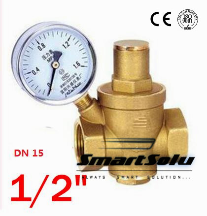 1/2 Brass DN15 water pressure regulator (prv) with Pressure Gauge,pressure maintaining valve,Tap water pressure reducing valve 1pcs oxygen regulator pressure gauge pressure reducing valve input 15mpa g5 8