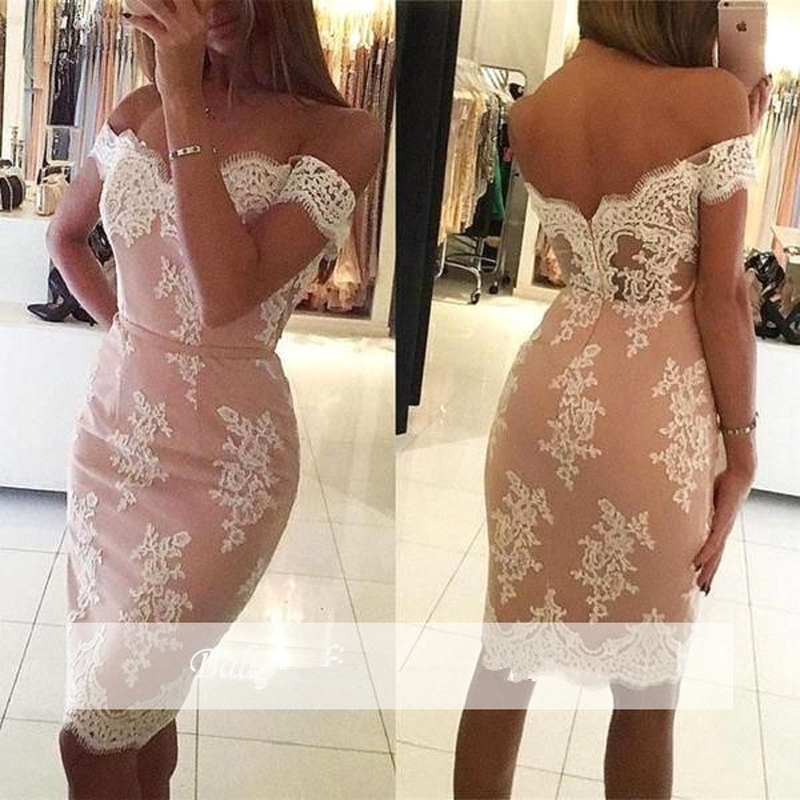 Pink 2019 Elegant Cocktail Dresses Sheath Off The Shoulder Knee Length Satin Lace Party Gown Plus Size Homecoming Dresses