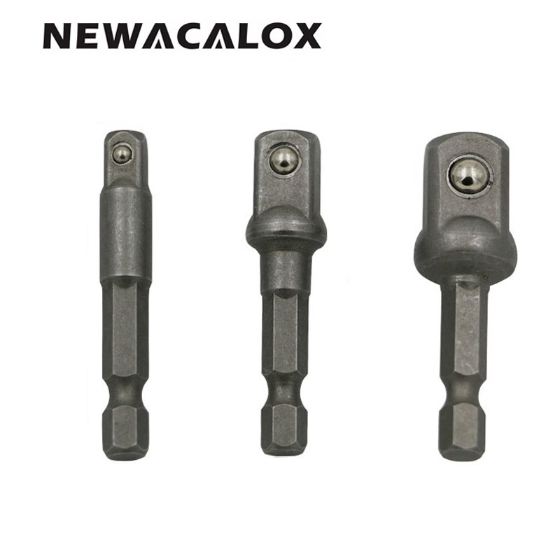 NEWACALOX Power Extension Bit Set for Drills CRV Steel Socket Adapter Set Hex Shank Tools 1/4 3/8 1/2 3pcs/set ninth world 13pcs 1 5 6 5mm hexagonal screw drills power tools woodworking tools high speed steel 1 4 hex shank drill bit set