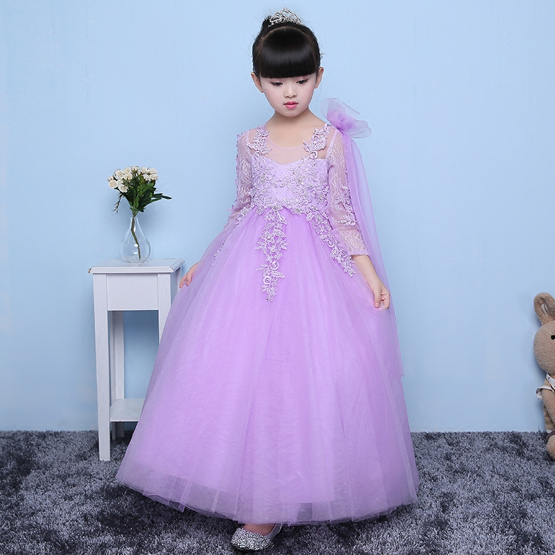 2017Girls party wear clothing for children summer long sleeves lace princess wedding long dress girls teenages party prom dress girls europe and the united states children s wear red princess long sleeve princess dress child kids clothing red bow lace