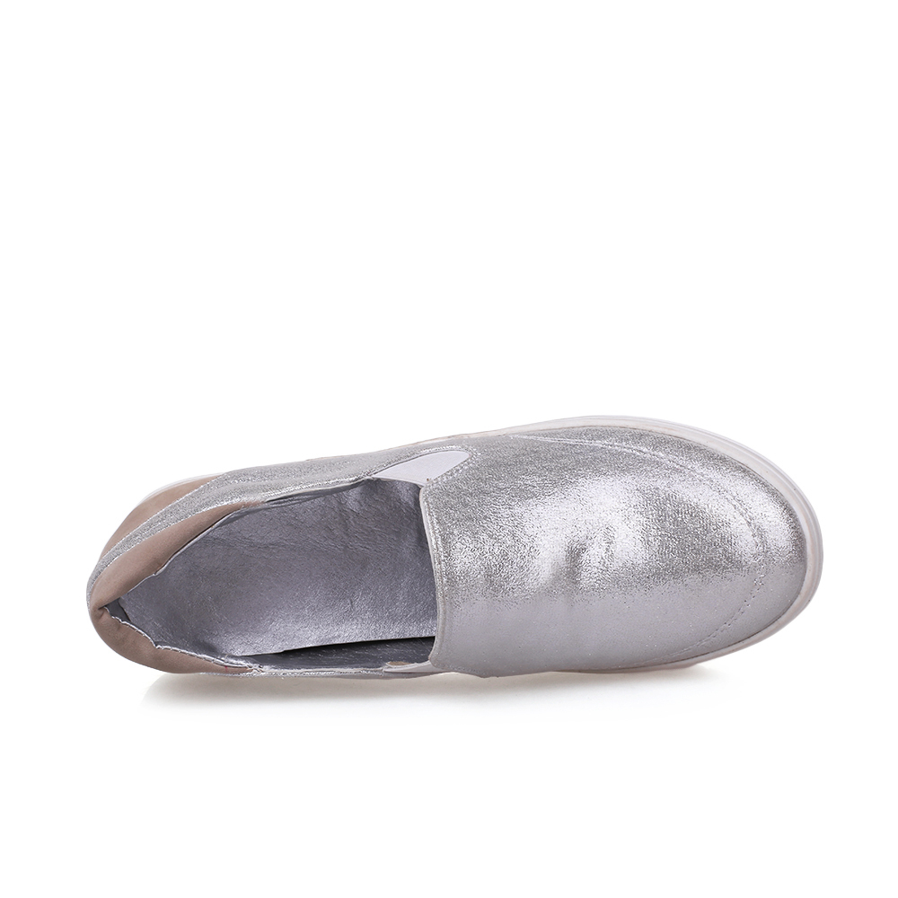amp; Pqecfs Automne Plate forme Qualité Ressort Couleurs Mélangée 43 white En Couleur 2 Grande Femmes Silver Taille 31 Pu Haute Mocassins Cuir rqw0r4C