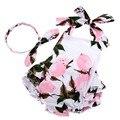 Девочка комплект одежды новорожденных девочек старинные цветочные ползунки малыша девушка комбинезон onesie комбинезон младенца с бантом оголовье набора ползунки детские #7E2039