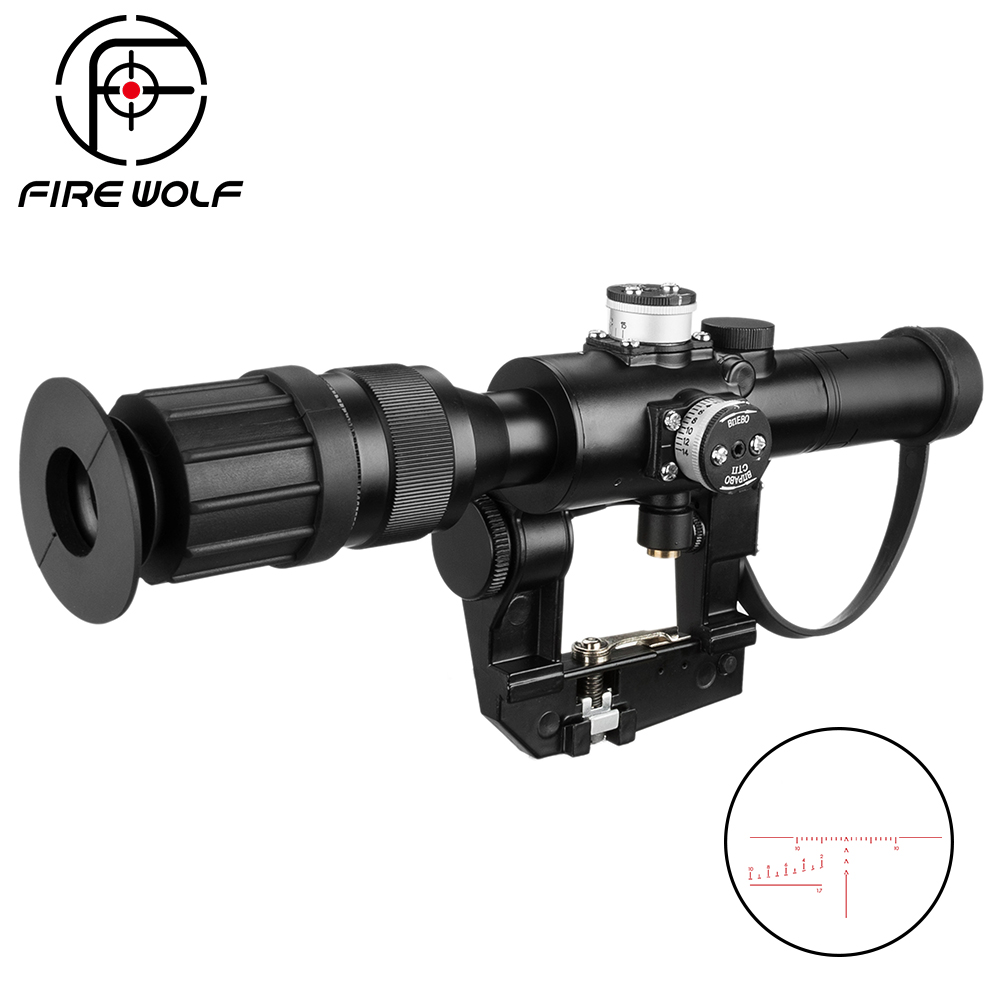 Tactical Hunting Riflescope SVD Dragunov Optics 4x26 Red Illuminated Rifle Scope Airsoft Red Dot Sight Sniper Gear