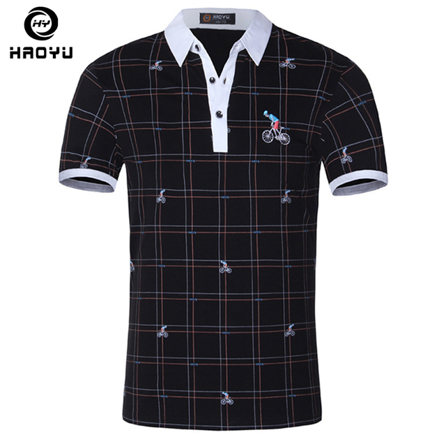 Men's Polo Shirt Famous Brand 100% Cotton Short Sleeve Fashion Character Soild Anti-Wrinkle Regular Polo Homme Brand Clothing