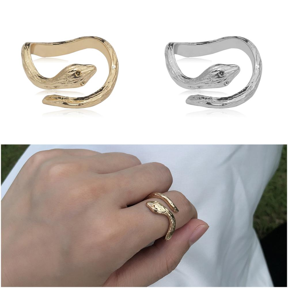 1pcs New Wholesale Lots Bulk Vintage Charms Fashion Silver Gold Color Alloy Animal Snake Open Mouth Finger Rings for Women Girls(China)