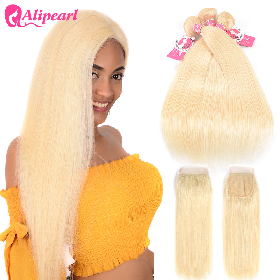 Hair Extensions & Wigs Alipearl 613 Blonde Bundles With Closure Straight Human Hair Brazilian Hair Weave Bundles With Closure 4x4 Free Part Remy Hair Profit Small