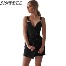 Sexy Sleeveless Streetwear Dress Women Summer Bandage Dress Button Chain Straps Adjusted Pin Buckle Mini Vintage Dress Plus Size pu leather panel plus size sleeveless bandage mini dress